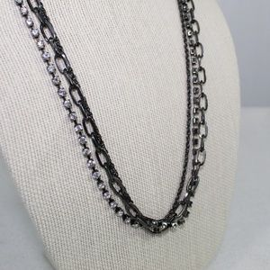 J. Crew Gray and Crystal Multi-strand Necklace